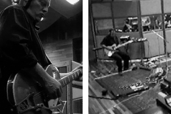 David employed a number of guitars for the 1993 Division Bell/Endless River sessions. Here at the Olympic Studios playing a Gretsch 6121 during Nervana and a '52 Telecaster for Allons-y.