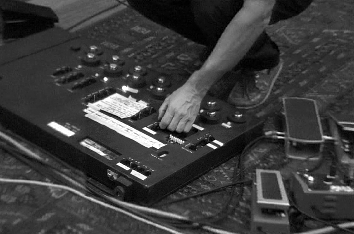 This pedal board was originally designed for Pete Cornish prior to the 1987-89 MLOR tour as a backup board. It seems to have been David's main board during the 1993 sessions. It's documented if the board was modified prior to the sessions however, the addition of a Boss GE7 can clearly be seen.