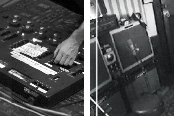 David Gilmour's main setup during the 1993 sessions. To the left the 1987 Pete Cornish pedal board and right, the stereo amp setup with two Fender Bassmans, two Hiwatt SA212 and the Maestro Rover on top.